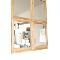 ナチュラルインテリア/ミラー/鏡/100均/セリア 内窓ができたように錯覚を起こす鏡のDIY…