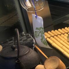 風鈴/鉄瓶/夏インテリア/インテリア/グルメ/フード/... 暑い夏 風鈴の音色🎐と 熱い抹茶で 午後…