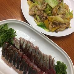 中華/野菜炒め/ハマチ/夕食 ハマチの炙り🐟 ゴマダレ 野菜炒め 💕