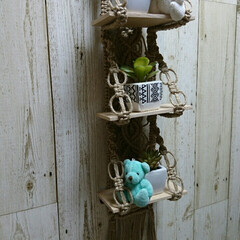 麻紐/マクラメ編み/メルカリ出品中 ミニ3段 マクラメ ハンガー シェルフ♪…