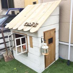 子供用/おままごと/庭/小屋/キッズカフェ/DIY/... お庭にあるキッズカフェ! 遊ばない時はこ…