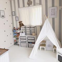 マステアレンジ/子供部屋/キッズルーム/グレーインテリア/おうち/DIY/... 100均の商品を使ってキッズルームの壁を…