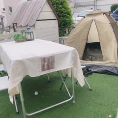 おうち時間/BBQ/庭キャンプ/おうちキャンプ/おうちテント/子供との時間 週末はおうちキャンプしました! 狭いお庭…