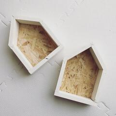 小物収納/余り木/子供部屋/小さなお家/セリア/100均/... お家にあるあまり木で小さなお家形を作りま…