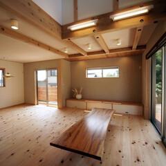 無垢/桧/木の家/自然素材/リビングインテリア/吹き抜け