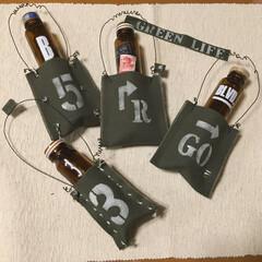 ワイヤークラフト/一輪挿し/ステンシル/帆布/空き瓶リメイク/雑貨/... 買ってたカーキ色の帆布をやっと使いました…