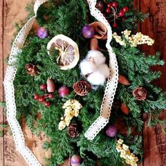 ハンドメイド/Christmasスワッグ/セッコウボクフェイク/レースリボン/ドライレモン/麻紐/...   Christmasスワッグ part…