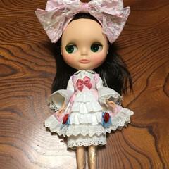 手作り/リボン/かわいい/ロリィタファッション/お人形/ブライス/... ゆめかわユニコーンのピンクの生地で、スウ…(1枚目)