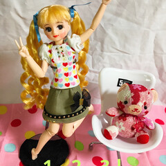 お人形/かわいい/リカちゃん/DIY/雑貨/100均/... ミサトちゃんと和柄くまちゃんの楽しそうな…