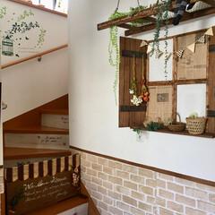 階段/ラダー/階段リメイク/窓枠/階段ガード/玄関/... 玄関に作った窓枠とラダーです:.* ♡(…