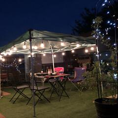 ライトアップ/ガーデニング/人工芝/タープ/テント/ストリングライト/... お庭でBBQしました♡ 風がひんやり気持…