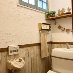 ガーランド手作り/セルフリノベーション/板壁柄リメイクシート/窓枠/漆喰壁/トイレ/... 漆喰塗ってから、トイレの匂いが全然なくな…