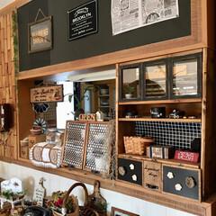 パタパタ扉/棚DIY/ショーケース/キッチンカウンター/キッチン キッチンカウンターです:.* ♡(°´˘…