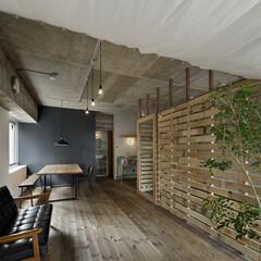 ヴィンテージ/無垢材/古材/コンクリート/インダストリアル サンルームの天井は布で間仕切りにもなる。