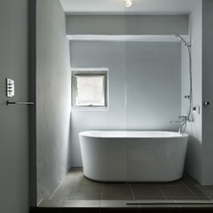 シンプル/インダストリアル 開放感と光のあるシンプルなバスルーム。