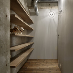 ヴィンテージ/無垢材/コンクリート/インダストリアル、棚 見せる収納がある玄関。