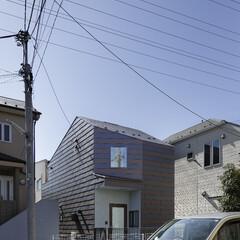 無垢材/シンプル/モダンジャパニーズ ストライプ状の金属板の外壁と屋根