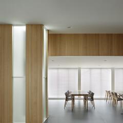 無垢材/シンプル 木とガラスのストライプ壁