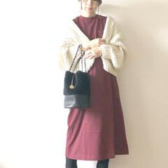 マタニティコーデ/ママコーデ/コーデ/ファッション ざっくりカーディガン  ボルドーと合わせ…