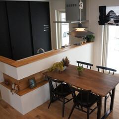 北欧/マリメッコ/キッチン/ダイニング/カフェ風 北欧スタイル高性能住宅。 カフェのような…