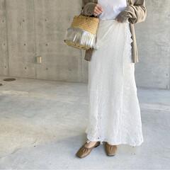 春コーデ/レーススカート/ママコーデ/ママファッション/大人カジュアル/春のトレンド/... レーススカート✨   今季絶対欲しいな〜…