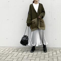レースアップブーツ/GU/サテンプリーツスカート/サテンスカート/プリーツスカート/スカートコーデ/... コーデ   暖かかった日…♡  春物注目…