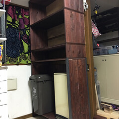 収納棚/フォロー大歓迎/DIY/インテリア/家具/収納 収納棚DIY  天井に梁が出ていたので転…(2枚目)