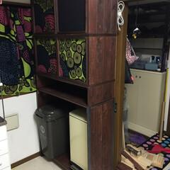 収納棚/フォロー大歓迎/DIY/インテリア/家具/収納 収納棚DIY  天井に梁が出ていたので転…
