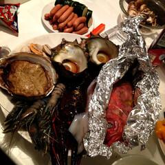 BBQ/鮑/伊勢海老/海鮮/フード/グルメ/... BBQといえば肉ですが、  少々飽きまし…
