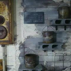 手作り/男前/ジャンク/インダストリアル/ブロック/ハンドメイド 発泡スチール素材のブロックで壁つけの棚を…