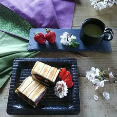 和/おうちカフェ/おうちごはん/ホットサンド/和スイーツ/わたしのごはん 遅めの朝ごはんにおやつも兼ねて 和スイー…