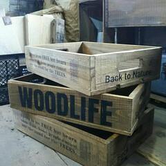 ステンシル/DIY/インテリア/ビンテージ/woodbox/ウッドボックス/... WOODBOX作りました☆ 収納にはもち…