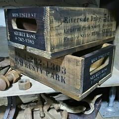インダストリアル/かっこいい/男前/ビンテージ/ヴィンテージ/木箱/... ヴィンテージなWOODBOXを作りました…