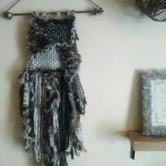 毛糸/ダイソー/ウィービング/冬インテリア/インテリア/手作り/... ダイソーの毛糸で作ったウィービング☆鉄の…