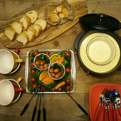 食卓/おうちごはん/ごはん/電気グリル鍋/山善キャセロール/山善/... 野菜をたっぷり食べれます✨チーズフォンジ…