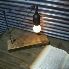 インテリア/ラストメディウム/ターナー/ホームセンター/DIY/テーブルランプ/... 家にあった余材を組み合わせて作ったインダ…