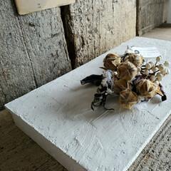 アンティーク エイジング 塗料 P-Effector デコボコベース(ペンキ、塗料)を使ったクチコミ「漆喰風ディスプレイ台☆ 100均木材で土…」