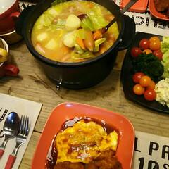 春野菜/ポトフ/おうちごはん/食卓/電気グリル鍋/グリル鍋/... 新じゃが・新玉ねぎ・春キャベツ♪ 春野菜…