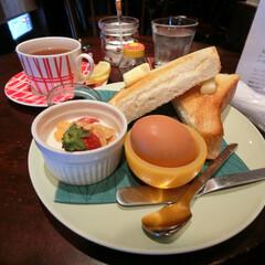 フロール/練馬/喫茶店/カフェ/モーニングセット/厚切りバタートースト/... 行ってみたいパン屋さんの近くでランチ。美…