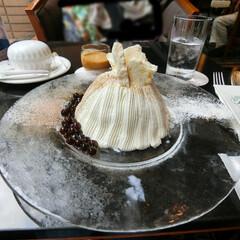 フォンティーヌ/ロイヤルパークホテル/水天宮前/かき氷/スノードームケーキ/タピオカミルクティー/... 昨年食べ損ねたケーキみたいなかき氷を食べ…