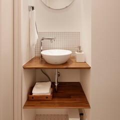 リフォーム/インテリア/住まい/リノベーション/トイレ/洗面所/... トイレ内の手洗いコーナー。手洗い付き便器…