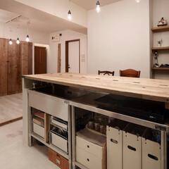 リフォーム/インテリア/住まい/キッチン/リノベーション/キッチンインテリア/... 足場板再利用と収納アイデアでお気に入りの…