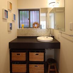 インテリア/住まい/リフォーム/収納/リノベーション/インテリアコーディネート/... 戸建のリノベーション。洗面所はテラコッタ…