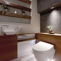 インテリア/住まい/リフォーム/収納/掃除/ナチュラルモダン/... トイレのリフォーム。天然の十和田石と表面…