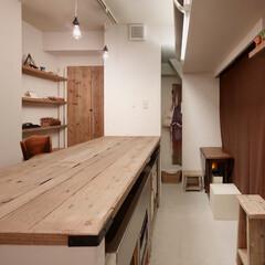 インテリア/住まい/リフォーム/キッチン/リノベーション/インテリアコーディネート/... 足場板再利用と収納アイデアでお気に入りの…