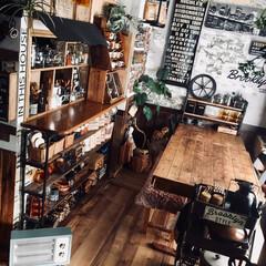 カフェみたいな暮らし/男前インテリア/DIY/ディアウォール/雑貨/100均/... 我が家のダイニング 大きなフェイクの観葉…