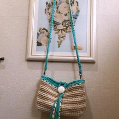 リサイクルヤーン/麻紐バッグ/ズパゲッティ/ハンドメイド/Tシャツヤーン/編み物 ショルダー麻紐バッグ