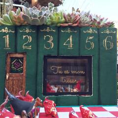 フェアリーガーデン/トムテ/モルタルアート/モルタルデコ/ガーデン/ガーデニング/... 北欧の妖精トムテの図書館をイメージしてモ…(4枚目)