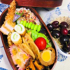曲げわっぱ/ランチ/男子高校生お弁当 おはようございます☔  今日も札幌は☔で…
