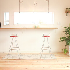 カウンターテーブル/カフェ 景色を楽しむためのカウンターテーブル。 …